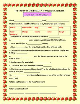 CHRISTMAS STORY HOMEWORK ACTIVITY: GRADES 3-6