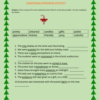 CHRISTMAS SYNONYM ACTIVITY