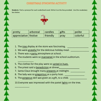 CHRISTMAS SYNONYM ACTIVITY