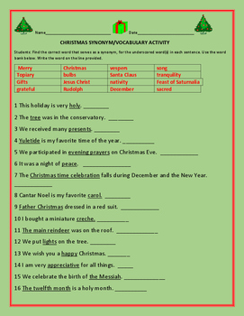 CHRISTMAS SYNONYM/ VOCABULARY ACTIVITY