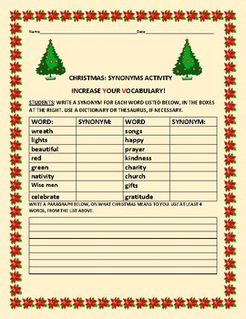 CHRISTMAS: SYNONYMS ACTIVITY