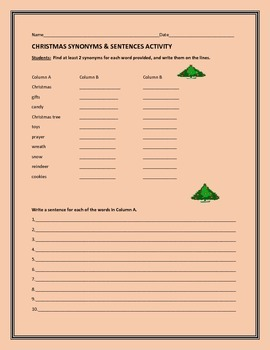 CHRISTMAS SYNONYMS  & SENTENCES ACTIVITY, GRADES 3-6