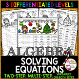 Christmas Algebra Solving Equations 3 LEVELS Coloring Activity