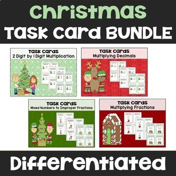 Christmas Math Task Card Bundle (Differentiated with 3 Levels)