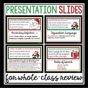 CHRISTMAS TASK CARDS GRAMMAR, PARTS OF SPEECH, FIGURATIVE LANGUAGE, & VOCABULARY