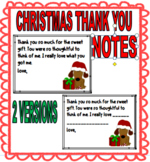 CHRISTMAS THANK YOU NOTES TO STUDENTS - 2 VERSIONS