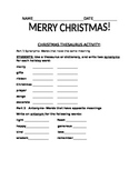 CHRISTMAS THESAURUS ACTIVITY