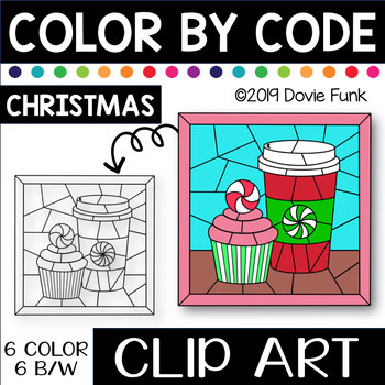 CHRISTMAS TREATS Color by Code Clip Art