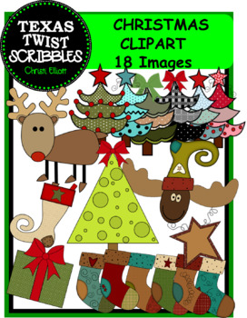 CHRISTMAS CLIPART {Texas Twist Scribbles}