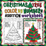 CHRISTMAS TREE COLOR BY NUMBER FOR ADDITION