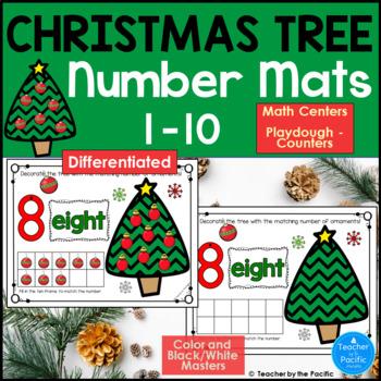 CHRISTMAS Math Number Mats 1-10 ~ Kindergarten Common Core