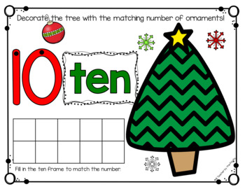 CHRISTMAS Math Number Mats 1-10 ~ Kindergarten Common Core