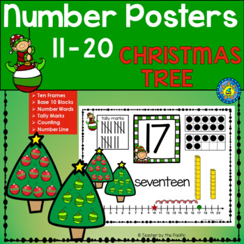 CHRISTMAS Math Anchor Charts - Numbers 11 - 20 ~ Kindergarten Common Core