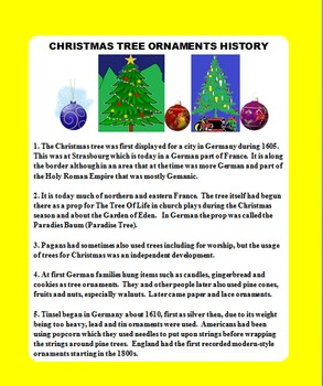 CHRISTMAS TREE ORNAMENTS HISTORY