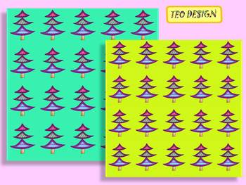 Christmas Tree - Digital paper - Clip Art - Personal or Commercial Use