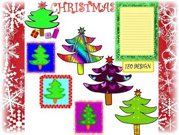 Christmas Tree - Writing paper - Clip Art - Personal or Co