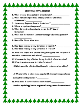 CHRISTMAS TRIVIA CONTEST: FOR ADMINISTRATORS, TEACHERS, COLLEGE, H.S.