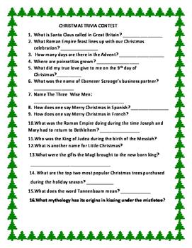 CHRISTMAS TRIVIA CONTEST: FOR ADMINISTRATORS, TEACHERS, CO
