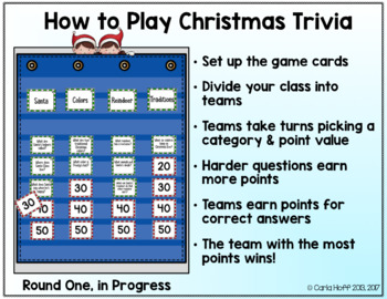 Christmas Trivia Game Categories and Questions Game Show Style! by Carla Hoff