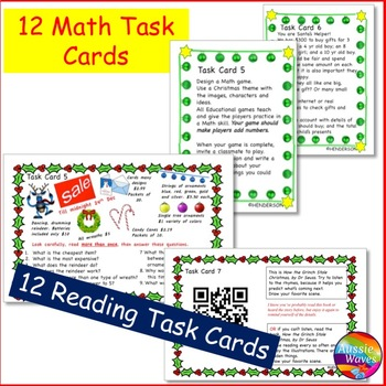 CHRISTMAS Activities BUNDLE SET 2 Task Cards for Reading Writing Math Language