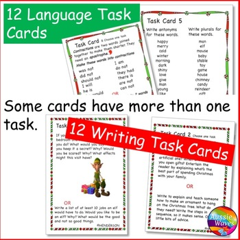 CHRISTMAS Activities BUNDLE Task Cards for Reading Writing Math Language