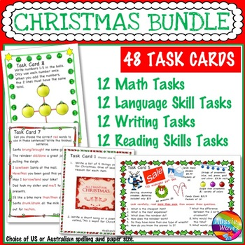 CHRISTMAS Task Cards BUNDLE SET 2 Reading Writing Math Language