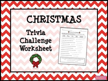 CHRISTMAS Trivia Challenge Worksheet