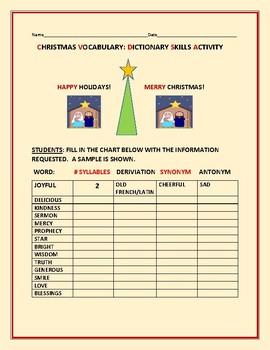 CHRISTMAS VOCABULARY:  DICTIONARY SKILLS