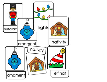 CHRISTMAS VOCABULARY FLASH CARD PUZZLES