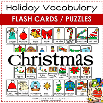 CHRISTMAS VOCABULARY FLASH CARD PUZZLES