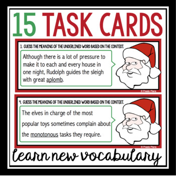 CHRISTMAS VOCABULARY TASK CARDS ACTIVITY: SANTA'S DICTIONARY