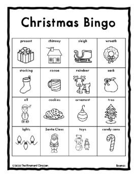 CHRISTMAS Vocabulary BINGO Make & Take, SPEECH THERAPY