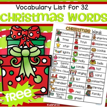 christmas vocabulary list 32 words and pictures free by kidsparkz