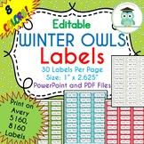CHRISTMAS WINTER Labels Editable Classroom Folder Name Tags (Avery 5160, 8160)