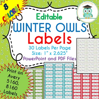 Avery Christmas Labels.Christmas Winter Labels Editable Classroom Folder Name Tags Avery 5160 8160