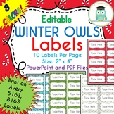 CHRISTMAS WINTER Labels Editable Classroom Folder Name Tags (Avery 5163, 8163)
