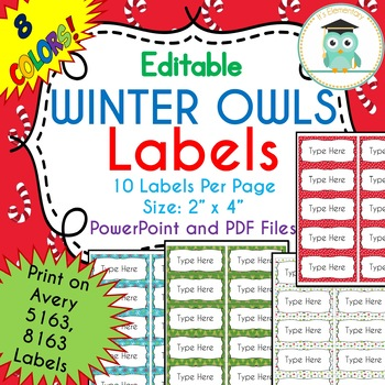 Avery Christmas Labels.Christmas Winter Labels Editable Classroom Folder Name Tags Avery 5163 8163