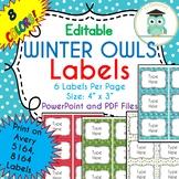 CHRISTMAS WINTER Labels Editable Classroom Folder Name Tags (Avery 5164, 8164)
