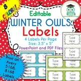 CHRISTMAS WINTER Labels Editable Classroom Folder Name Tags (Avery 5168, 8168)