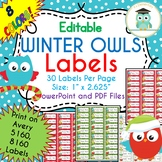 CHRISTMAS WINTER Owls Labels Editable Classroom Folder Name Tags (Avery 5160)