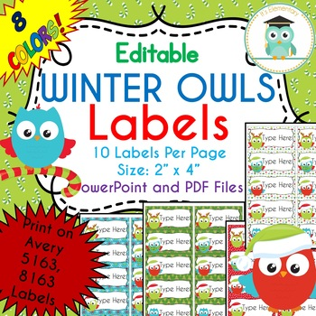 Avery Christmas Labels.Christmas Winter Owls Labels Editable Classroom Folder Name Tags Avery 5163
