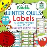 CHRISTMAS WINTER Owls Labels Editable Classroom Folder Name Tags (Avery 5163)