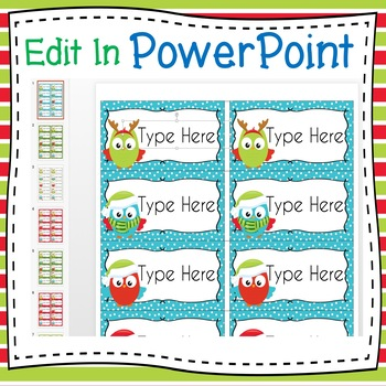Avery Christmas Labels.Christmas Winter Owls Labels Editable Classroom Folder Name Tags Avery 5168