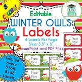 CHRISTMAS WINTER Owls Labels Editable Classroom Folder Name Tags (Avery 5168)