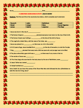 CHRISTMAS WORD BANK ACTIVITY: JESUS IS BORN!  GRADES 4-8
