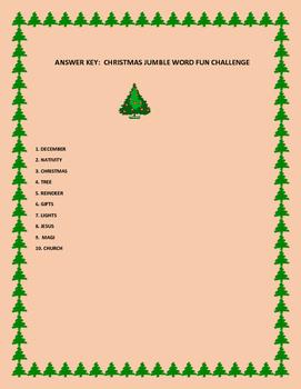 CHRISTMAS WORD JUMBLE ACTIVITY