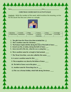 CHRISTMAS WORD MATCH ACTIVITY/QUIZ