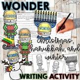 Christmas Writing Activity, Wonder, Hanukkah, Menorah, Snowman, Kindness