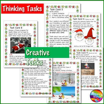CHRISTMAS WRITING Center Task Cards With Individual Tasks with mixed genre
