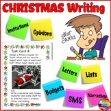 CHRISTMAS WRITING Activities Task Cards for Literacy Centers Individual Tasks